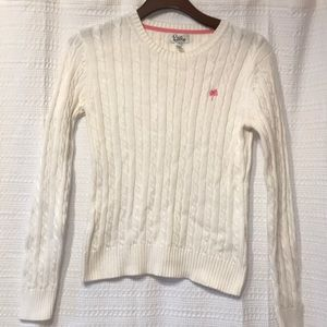 Lilly Pulitzer White Cotton Cable Crewneck Sweater
